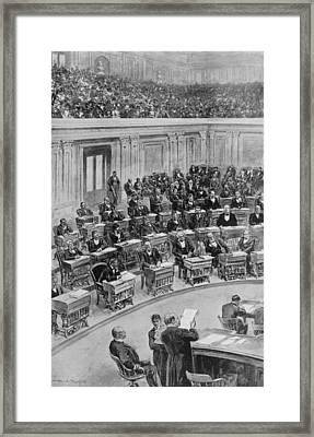 In The Senate, March 25, 1898--reading Framed Print by Everett