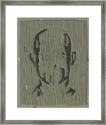 In The Shadows Linoleum Block Carving Framed Print by Shawn Vincelette