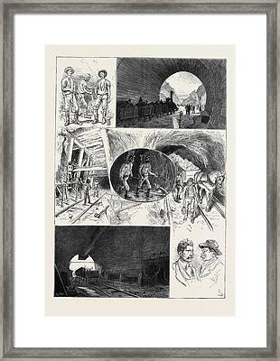 In The St. Gothard Tunnel The Upper Illustration A View Framed Print by English School