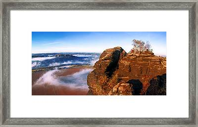 In The Sun Glowing Rock On The Lilienstein Framed Print