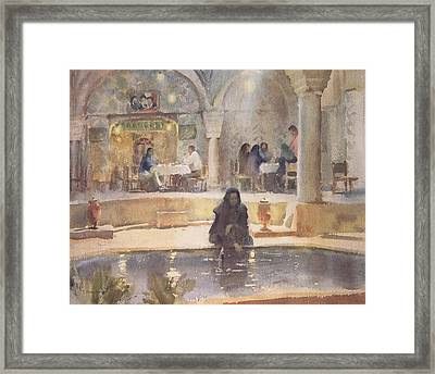 In The Teahouse, Kerman Wc On Paper Framed Print by Trevor Chamberlain