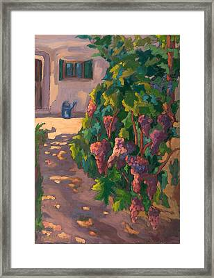 In The Vineyard, 2011 Oil On Board Framed Print by Marta Martonfi-Benke