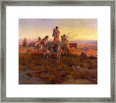 In The Wake Of The Buffalo Hunters Framed Print by Charles Russell