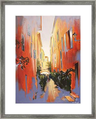 In Town Of Saint Tropez Framed Print by Lin Petershagen