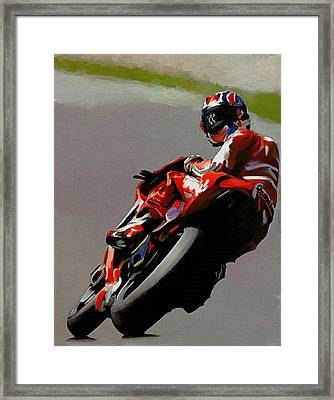 In Victory  Casey Stoner Framed Print by Iconic Images Art Gallery David Pucciarelli