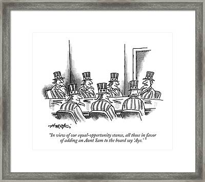 In View Of Our Equal-opportunity Stance Framed Print
