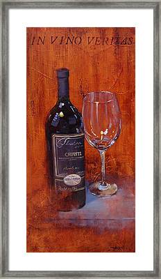 In Vino Veritas Framed Print by Laura Lee Zanghetti