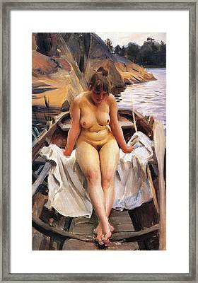In Werners Rowing Boat Framed Print by Anders Zorn