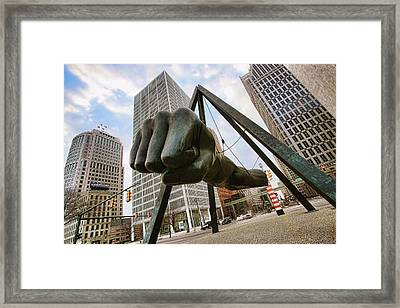 In Your Face -  Joe Louis Fist Statue - Detroit Michigan Framed Print