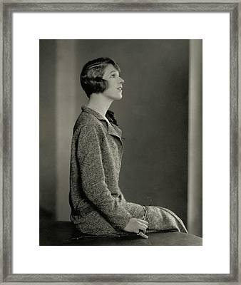 Ina Claire Wearing A Tweed Dress Framed Print