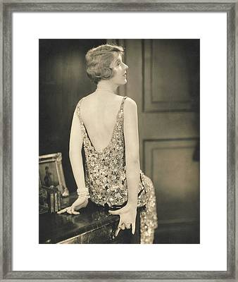 Ina Clare Wearing A Chanel Dress Framed Print