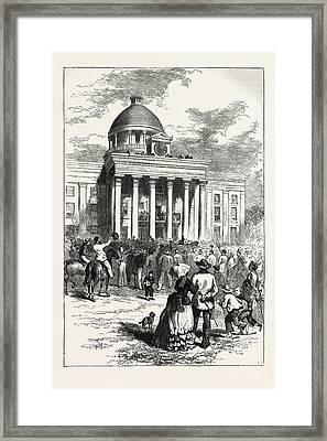 Inauguration Of Jefferson Davis Framed Print by American School