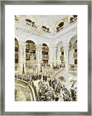 Inauguration Of The Paris Opera House, 5th January 1875, 1878 Wc & White On Paper Framed Print by Jean-Baptiste Edouard Detaille