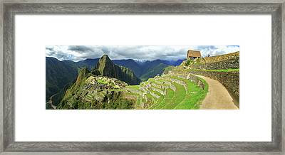 Inca City Of Machu Picchu With Urubamba Framed Print by Panoramic Images