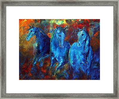 Abstract Horse Painting Blue Equine Framed Print