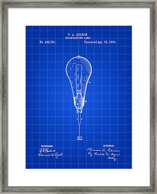 Thomas Edison Incandescent Lamp Patent 1890 - Blue Framed Print by Stephen Younts