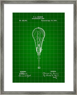 Thomas Edison Incandescent Lamp Patent 1890 - Green Framed Print by Stephen Younts