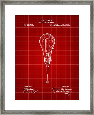 Thomas Edison Incandescent Lamp Patent 1890 - Red Framed Print by Stephen Younts