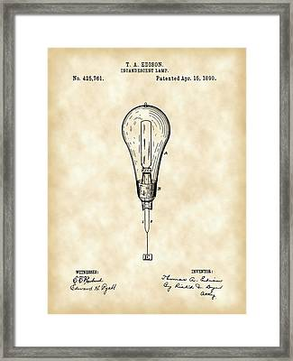 Thomas Edison Incandescent Lamp Patent 1890 - Vintage Framed Print by Stephen Younts