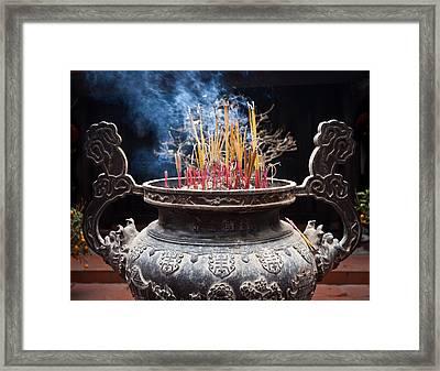 Incense Sticks Burn In Large Ceremonial Temple Urn Framed Print