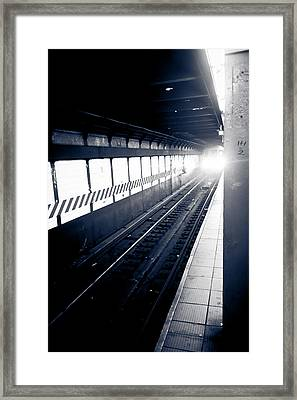Framed Print featuring the photograph Incoming At The Subway - New York City by Peta Thames