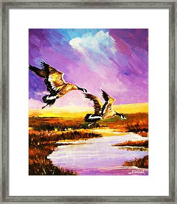 Framed Print featuring the painting Incoming Geese by Al Brown
