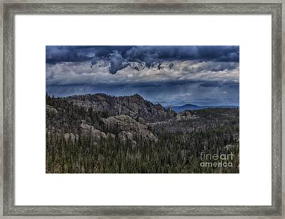 Incoming Storm Over The Black Hills Of South Dakota Framed Print