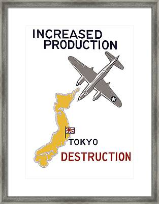 Increased Production - Tokyo Destruction Framed Print by War Is Hell Store