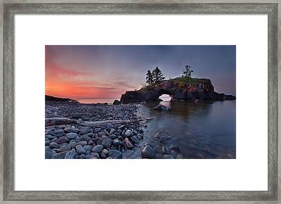 Framed Print featuring the pyrography Hollow Rocks, North Shore Mn by RC Pics