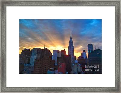 Incredible New York Skyline Sunset Framed Print by Miriam Danar