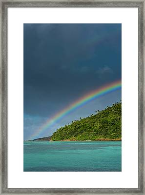 Incredible Rainbow Over An Islet Of Ofu Framed Print by Michael Runkel