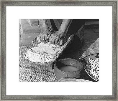 Indains Making Corn Flour Framed Print