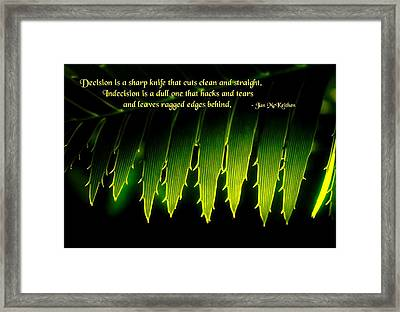 Indecision Framed Print by Mike Flynn