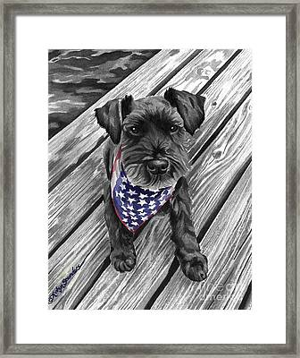 Watercolor Schnauzer Black Dog Framed Print