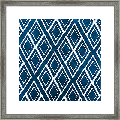 Indgo And White Diamonds Large Framed Print by Linda Woods