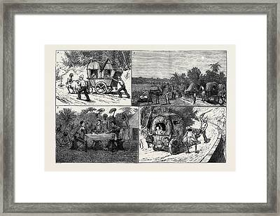 India, A March To A Hill Station With Invalids 1 Framed Print by Indian School