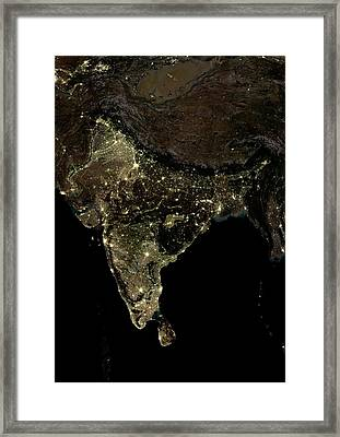 India At Night Framed Print by Planetobserver
