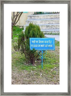 India, Dehradun Bilingual Sign Framed Print by Charles O. Cecil