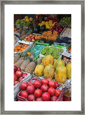 India, Dehradun Fruit Stand Framed Print