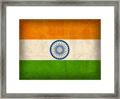 India Flag Vintage Distressed Finish Framed Print by Design Turnpike