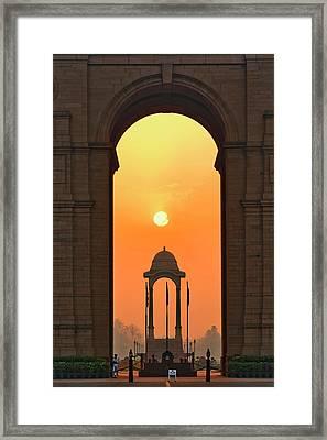 India Gate, A War Memorial In New Delhi Framed Print