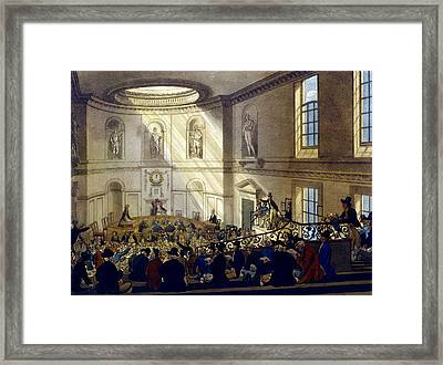 India House, The Sale Room Framed Print by T. & Pugin, A.C. Rowlandson