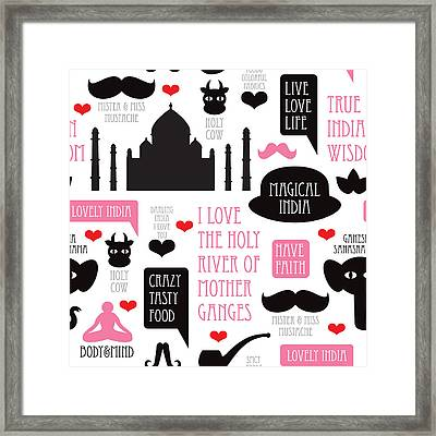 India Icons Illustration Framed Print by Little Smilemakers Studio