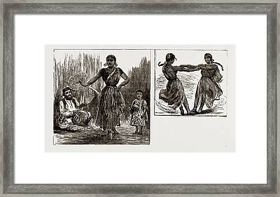 India In London, 1886 A Tanjore Nautch Dancer And Child Framed Print