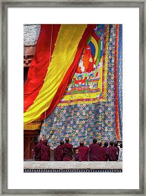India, Jammu & Kashmir, Ladakh, Monks Framed Print by Ellen Clark