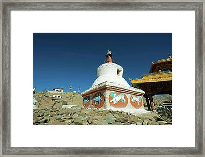 India, Ladakh, Leh, Small White Stupa Framed Print by Anthony Asael