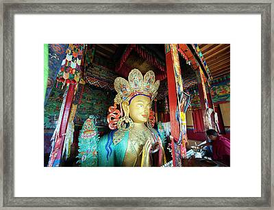 India, Ladakh, Thiksey, Monk Making Framed Print by Anthony Asael