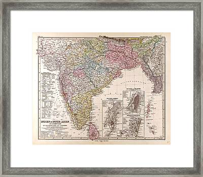 India Map Gotha Justus Perthes 1876 Atlas Framed Print