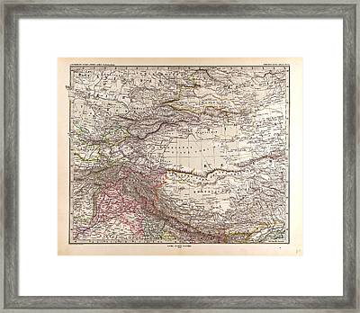 India Mongolia China Gotha Justus Perthes 1876 Atlas Framed Print