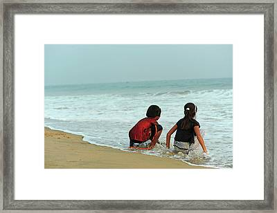 India, Odisha, Puri, Two Girl Friends Framed Print by Anthony Asael